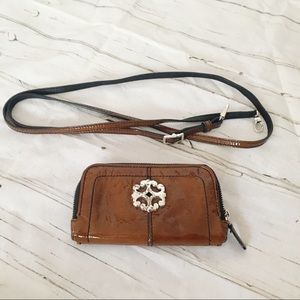 Brighton Brown Patent Leather Crossbody Wallet
